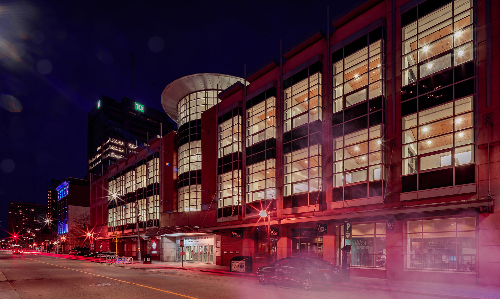 Extra creative edit of night photo at Central Library and Dundas Street.