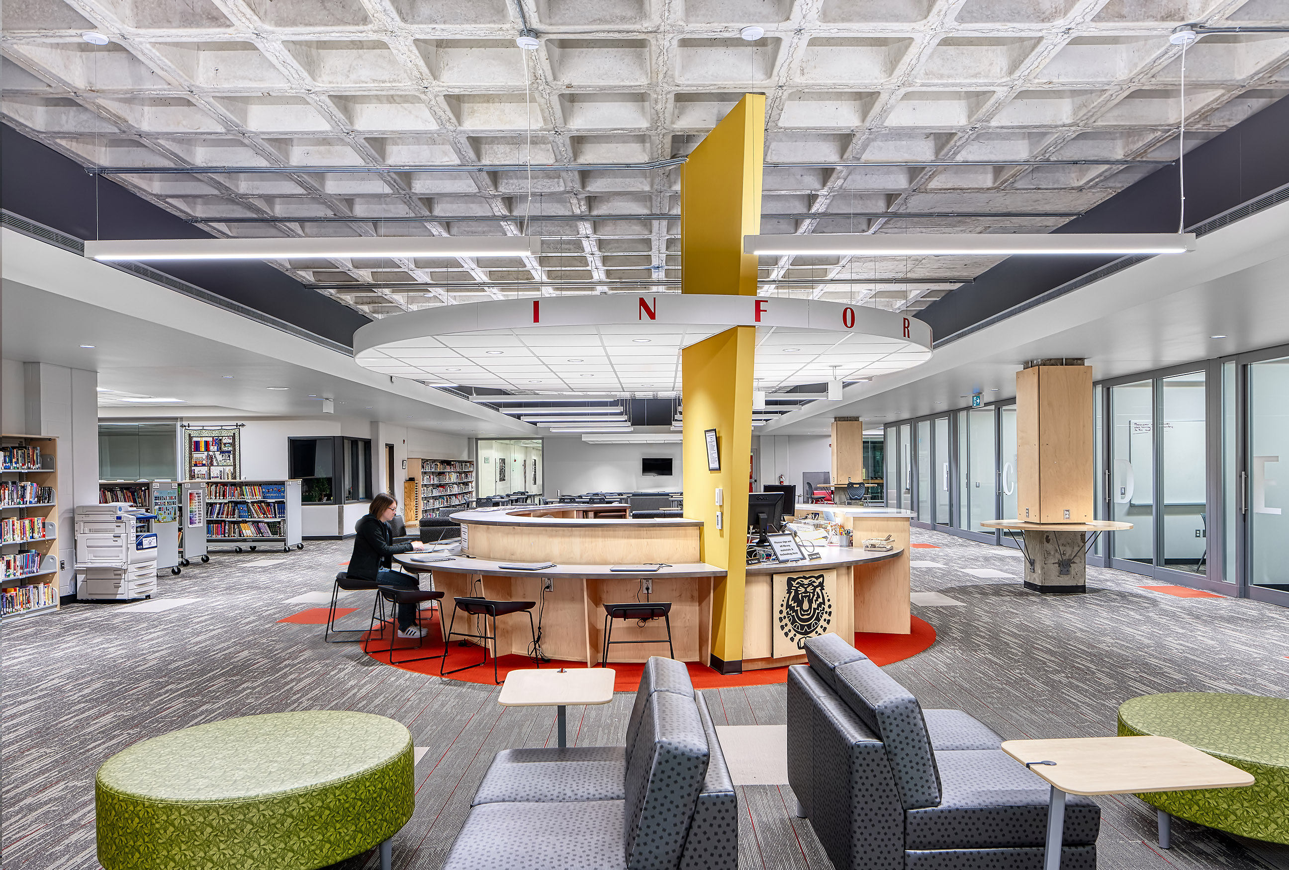 Interior photography of the new Saunders Learning Commons by Scott Webb